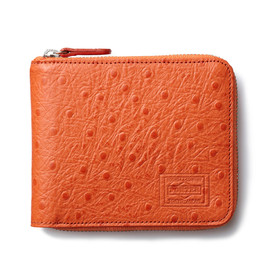 "HEAD PORTER - ""OSTRICH"" ZIP WALLET ORANGE"