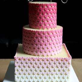 Ombre Hearts Wedding Cake ~ Love the  cake topper!