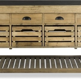 Williams-Sonoma - Stone Top Kitchen Island traditional kitchen islands and kitchen carts