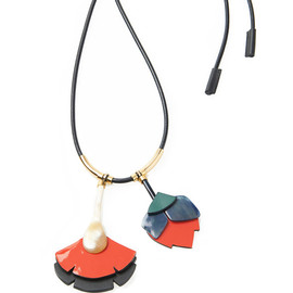 MARNI - Resort2015 Leather Double Flower Pendant Necklace