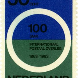 Designed by Wim Crouwel. - Postage stamps from the Netherlands, 1963.