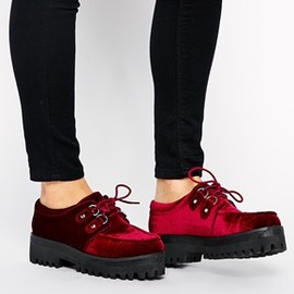 asos - Image 1 of ASOS MISSIONARY Velvet Flat Shoes