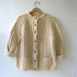 vintage wool cardigan sweater. fisherman's sweater.