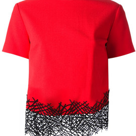 Christopher Kane - Red Lattice Detail Top