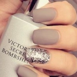 Matte nude nails with silver sparkle