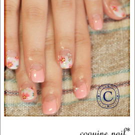 coquine nail - flower+pink