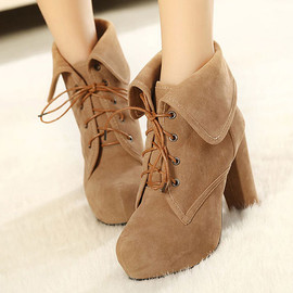 Roman Style Pure Color Fold Lace-up High-heeled Bootie