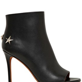 GIVENCHY - 100MM MICHELA LEATHER OPEN TOE BOOTS