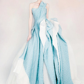 silk draped gazar dress