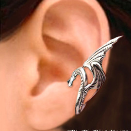 RingRingRing.etsy.com - Sea Serpent Silver ear cuff earring - wing snake dragon jewelry - 925 sterling Left earcuff for men and women 080512