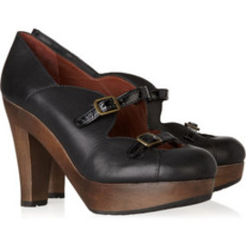 See by Chloe - Wooden-heeled buckle-strap leather pumps