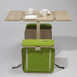 laughingsquid:Springtime, Combo Picnic Basket and Folding Table That Fits on a Bike