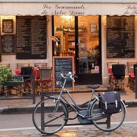 Paris - Paris Cafe, Paris Photography, Bike, Cafe Photo Art Prints, Red Paris Decor