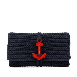 BALENCIAGA - BLACK CROCHET ANCHOR CLUTCH