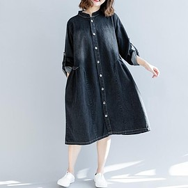 Loose Fitting dress - Women's Loose Fitting dress, Blue long dress, long sleeves Dresses, Casual Dresses black