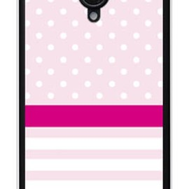SECOND SKIN - ドット/ボーダー ピンク (ソフトTPUクリア) / for AQUOS PHONE Xx 206SH/SoftBank