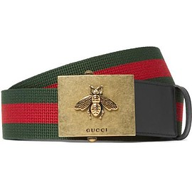 Gucci - 4cm Leather-Trimmed Striped Canvas Belt