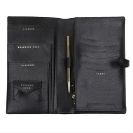 ANYA HINDMARCH - BESPOKE TRAVEL FOLIO LONDON GRAIN BLACK