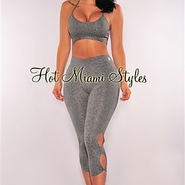 hot miami styles - Gray Marled Capri Gym Pants
