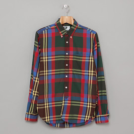 Weatern Shirt,Flannel Plaid Navy/Brown