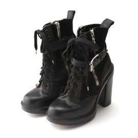 phi - Lace Up Side Zip Up Boots