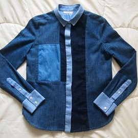 céline - patchwork denim shirt