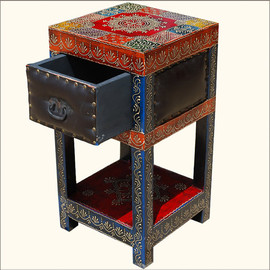 SierraLivingConcepts - Leather & Wood Hand Painted Red End Table Bedside Drawer Night Stand Furniture