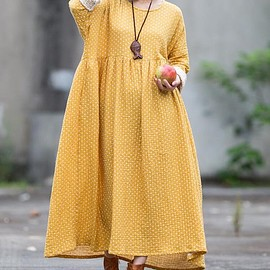 dress - Maxi Dress, Maxi Cotton Dress, Casual robes, Loose Fitting Dress