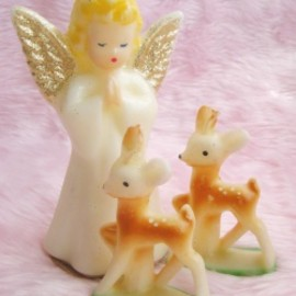"Gurley Novelty Co. - 1950's VINTAGE GURLEY ""Angel & Bambi"" Candles(3点set)"