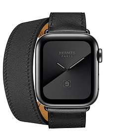 Apple, Apple Watch Series 5 - Hermès Space Black Stainless Steel Case with Double Tour