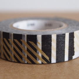 mt - Japanese masking tape gold black stripe patchwork