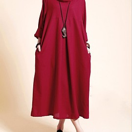 women Turtleneck Dress - Linen Loose Fitting dress, Maxi dress in dark red, Kaftan dress