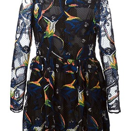 VALENTINO - Black cotton blend embroidered monkey tulle dress