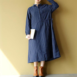 long Striped dress - Women autumn black dress Leisure blue long Striped dress