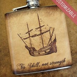 JOE V. LEATHER - Custom Stainless Steel & Leather Flask - Antique Ship