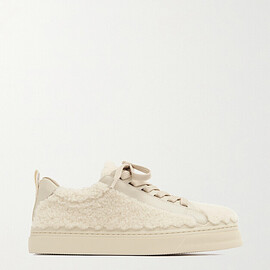 Chloé - Lauren scalloped leather and shearling sneakers