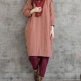 Loose Fitting Winter dress - Cotton linen robes, Maternity Clothing, Winter gown