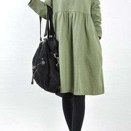 Dress It Up - Double layer collar linen dress knee length dress