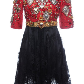 DOLCE&GABBANA - SS2015 Sacred Heart Embellished Short Sleeve Combo Dress