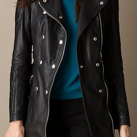 BURBERRY BRIT - LEATHER BIKER TRENCH COAT