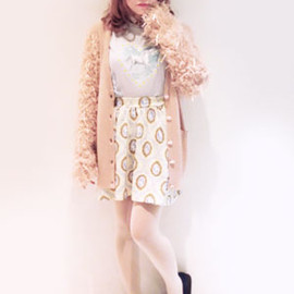 Candy stripper - FLEECY SLEEVE KNIT CARDIGAN