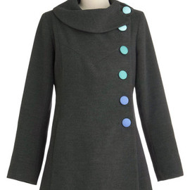 Mod for It Coat in Grey - Grey, Green, Blue, Solid, Buttons, Long Sleeve, Vintage Inspired, 60s, Mod, 3, Long