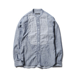 SOPHNET. - INDIGO GAUZE BAND COLLAR WINDOW SHIRT