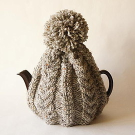 british grandma's hand knitted tea cosy oatmeal gray/england 2-6cups [new]