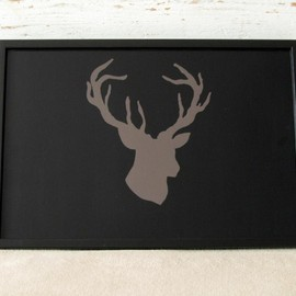 Luulla - Lap Desk - Hand painted Deer head - Antler - on Desk - Custom Order