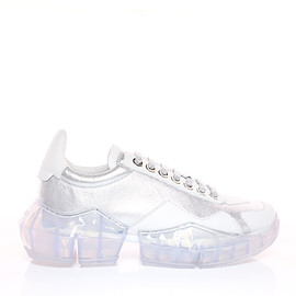 JIMMY CHOO - DIAMOND/F  Silver Metallic Leather and White Calf Leather Low Top Trainers