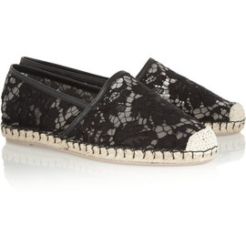 VALENTINO - Leather-trimmed lace espadrilles