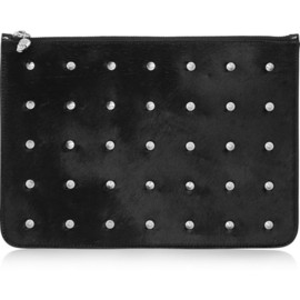 Alexander McQueen - Studded calf hair and patent-leather clutch