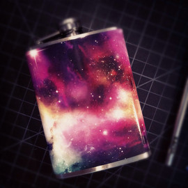 cdadamo - Cosmos Galaxy Space Sagan Nebula Stainless Steel Hip Flask