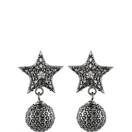 GIVENCHY - Star and ball drop earrings in ruthenium-tone brass and Swarovski crystal